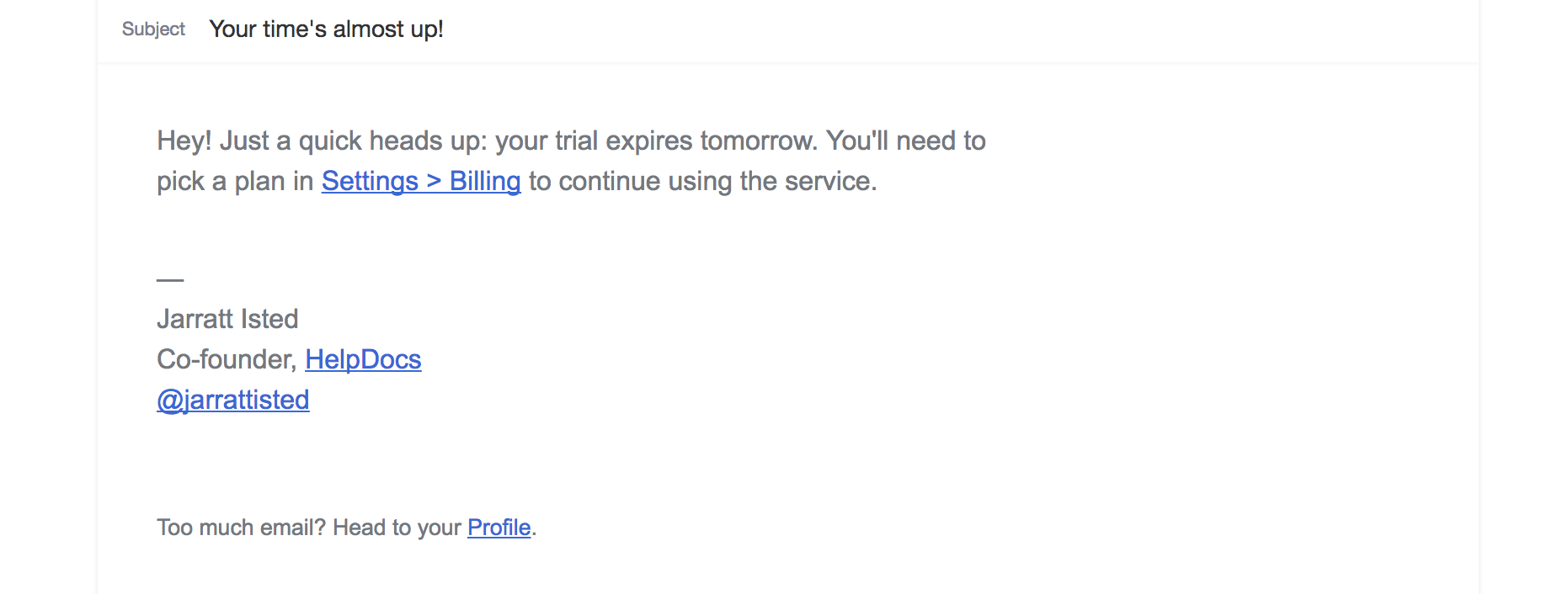 Onboarding email 2 trial is almost over