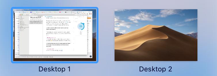 Two Desktops on MacOS