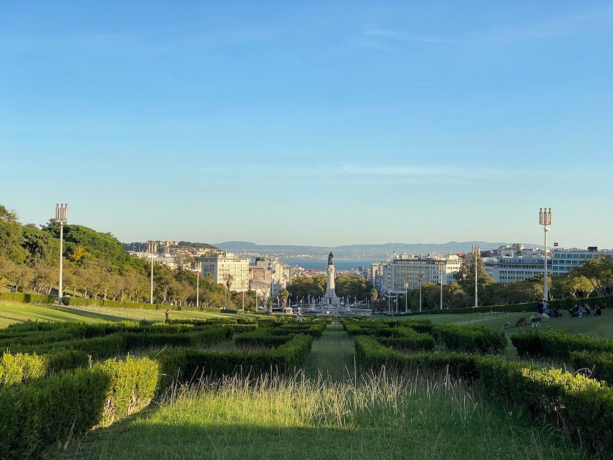 Image of Parque Eduardo VII looking down towards the city of Lisbon and its waterfront