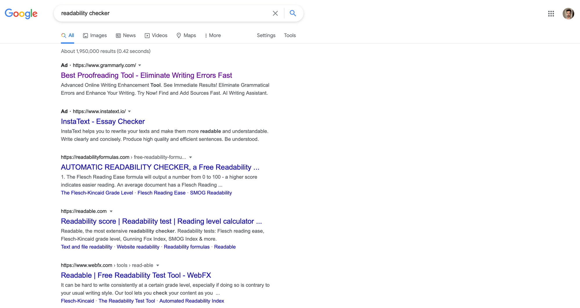 A Google results page for the term readability checker
